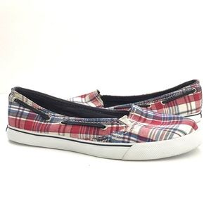 Red/blue Plaid Sherry Top Slider Sneaker
